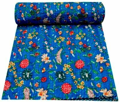 Indian Handmade Kantha Bedding Bedspread Quilt Cotton Throw Blanket Floral Print • 22.99£
