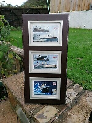 2x Titanic Pictures. 6 Postcards Framed In Brown Leather Style Frame.  • 8£