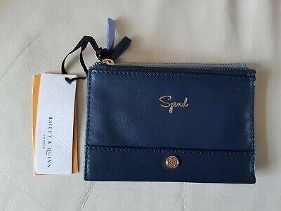Bailey & Quinn London Blue Zip Up Folding Purse Laether NEW • 15.99£