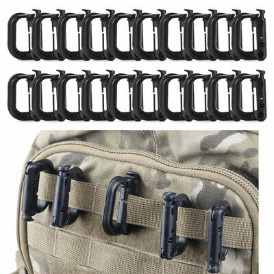 2/5 Tactical Backpack Buckle Molle EDC Shackle D-Ring Clip Hiking Carabiner TR16 • 3.79£