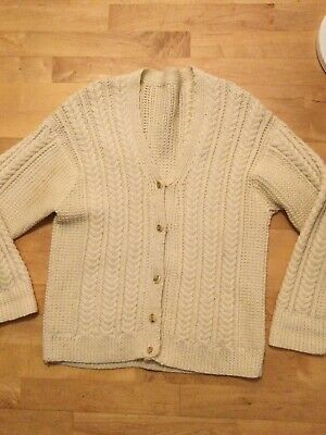 Aran Cable Knit Hand Knitted Wool Cardigan Size 12, 14, 16 • 5.99£