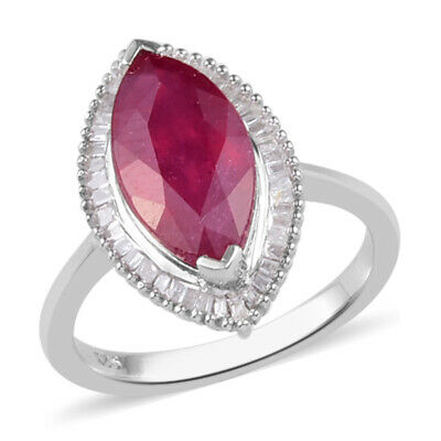 Ruby Halo Ring For Women In Silver With White Diamond, TCW 4.13ct • 99.99£