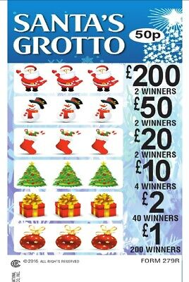 Santas Grotto 50p Stake Xmas Pull Tab Lottery Tickets Break Open For Fundraising • 60£