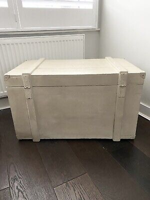 Large French Grey Wooden Blanket Box / Trunk / Toy Box • 10£