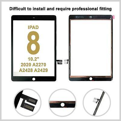 £14.99 • Buy For IPad 8 2020 A2270 A2428 A2429 A2430 Black Digitizer Touch Screen Replacement