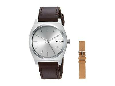 £62.13 • Buy Nixon Time Teller Leather Pack Watch Silver Brown Tan One Size New