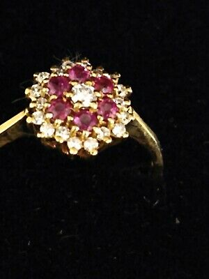 9ct Yellow Gold Ruby And Diamond Cluster Ring (Size M 1/2) NEW 1.9gram • 149.99£
