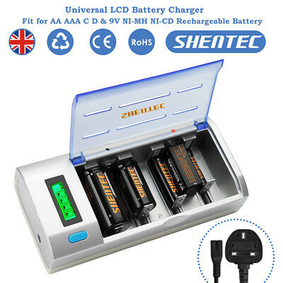 Shentec 4 Slot LCD Display AA AAA C D 9V Ni-MH NiCD Battery Charger Type C Input • 15.91£