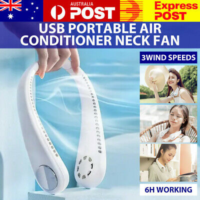 AU19.99 • Buy Portable USB Leafless Neck Fan Cooler Rechargeable Dual Effect Cooling Neckband