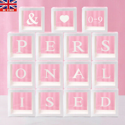 £3.98 • Buy A-Z 0-9 Letter Transparent Boxes Packing Wedding Baby Shower Xmas Party Decor UK