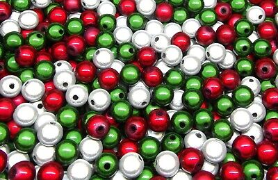 £4.79 • Buy 100 Christmas Miracle Illusion Beads - 8mm - Acrylic - Red White & Green Colours