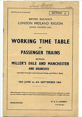 Br Lmr Millers Dale, Manchester & Branches 1964 Passenger Working Timetable. • 2.95£