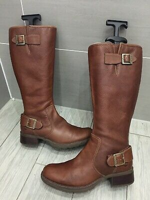 Ladies Tan Brown Leather Timberland Charles Street Lexiss Buckle Boots, Uk 6 • 30£