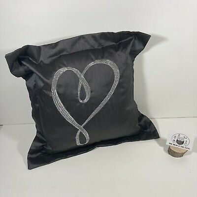 Dunelm Silver Grey Love Heart Scatter Cushion Pillow Lounge Bed Bedroom 34x34cm • 8.99£
