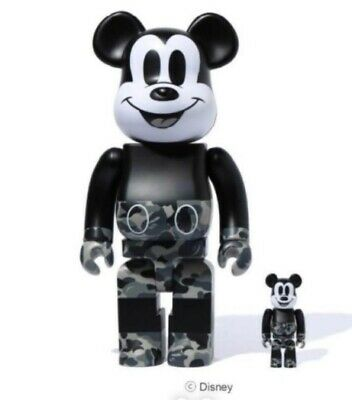 $310 • Buy BE@RBRICK BAPE MICKEY MOUSE Monotone 100% 400% From Japan