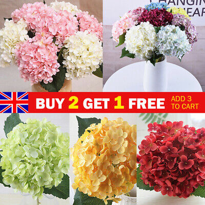 £5.59 • Buy 11 Heads Artificial Floral Hydrangea Flowers Bouquet Fake Bloom Wedding Decor UK