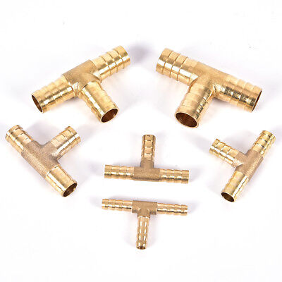 6~16mm Brass T Piece 3 Way Fuel Hose Connector Compressed Air Oil Gas Pipe SL!Y • 4£
