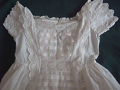 = Vintage Christening Gown - Tucks & Broderie Anglaise Trim - Homemade     [a42] • 20£