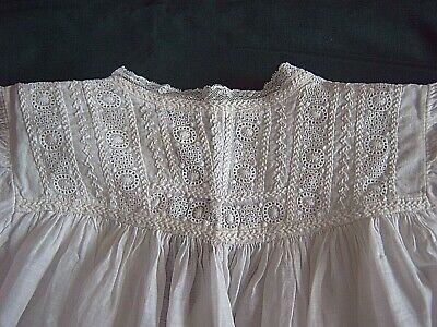 = Vintage Handmade Christening Gown Broderie Anglaise - Feather Stitch - Lace • 25£