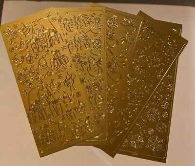 £0.99 • Buy Christmas Peel Off Stickers In Gold (various Designs)