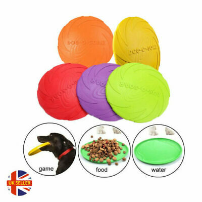 £6.07 • Buy Soft Rubber Each Frisbee Dog Pet Throws Frisbee To Retrieve Toy Yellow 22cm