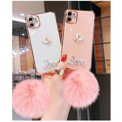 AU16.99 • Buy For IPhone 12 11 Pro X Max XR 78 Bling Glitter Butterfly Diamond Plush Ball Case