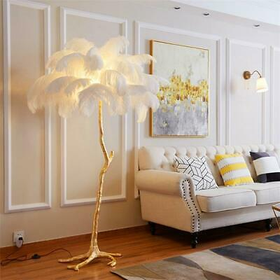 LED Ostrich Feather Floor Stand Light Table Lamps Copper Home Interior Lighting • 867.58£