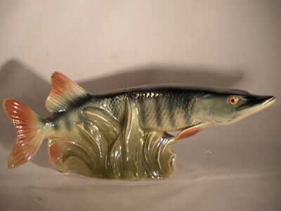 RARE? JEMA HOLLAND CERAMIC FRESHWATER PIKE FISH LUSTRE FIGURE 29.5cm LONG DAMAGE • 22£