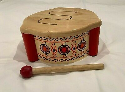 PINTOY Children's Wooden Multi-tone Toy Drum -made From Sustainable Rubberwood • 0.99£