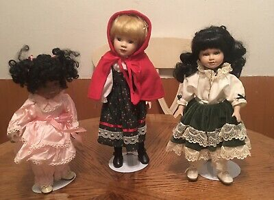 "$ CDN37.86 • Buy Porcelain Doll Lot Of  3. Girls.  14"" To 15"" Baby Girl"
