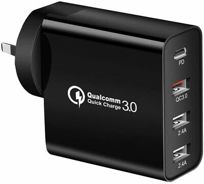 AU22.90 • Buy 48W 4-Port Qualcomm Charger Quick Charge 3.0 USB C Wall Power Adapter 30W Type C