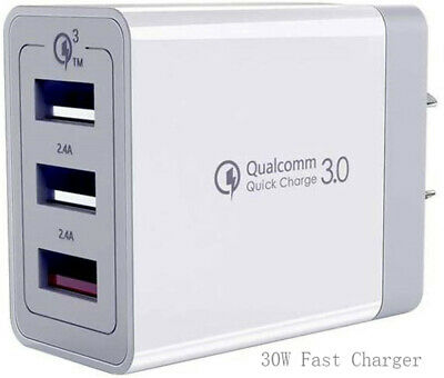 AU17.90 • Buy 30W Qualcomm 3 Port QC 3.0 Fast Charging USB Wall Charger Adapter IPhone Samsung