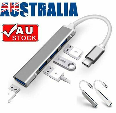 AU13.99 • Buy 4 Ports USB 3.0 Type C HUB With Power Supply Port For PC MacBook Air Pro Laptop