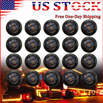 $18.32 • Buy 20x 3/4  Smoked Amber LED Bullet Side Marker Lights Snap-In Mount Truck Trailer