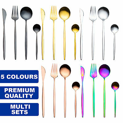 £19.99 • Buy Premium Modern Cutlery Set Finest Quality Polished Stainless Steel 5 Colours