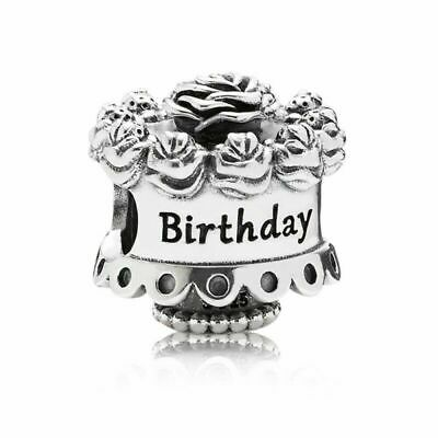 925 Sterling Silver Happy Birthday Celebrations Cake Charm & Gift Pouch • 9.70£