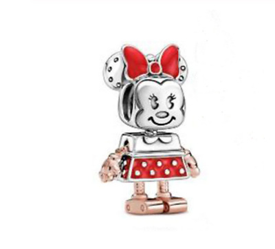 💎🎀 Disney Minnie Mouse Robot 925 Sterling Silver Charm & Gift Pouch • 9.90£