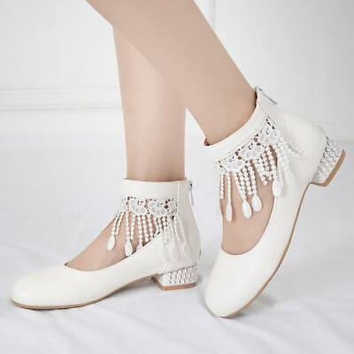 Womens Tassel Round Toe Sweet Pumps Mary Janes Dance Casual Shoes Pumps Ting1 • 33.16£