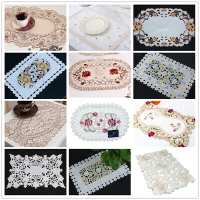 Vintage Embroidered Floral Dining Table Place Mat Lace Fabric Placemat 12x17inch • 3.09£