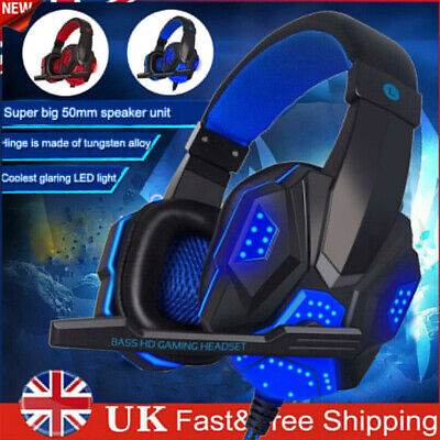 Gaming Headset For Xbox One PS4 PC Laptop USB Wired LED Stereo Mic Headphones UK • 13.02£
