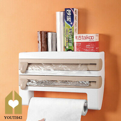 £10.89 • Buy 4 In 1 Kitchen Roll Dispenser Cling Film Tin Foil Wall Mounted Towel Holder Rack
