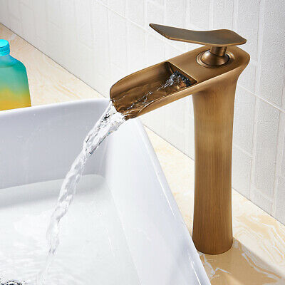 Bathroom Basin Mixer Taps Tall Waterfall Faucets Cloakroom Brass Tap Copper UK • 32.89£