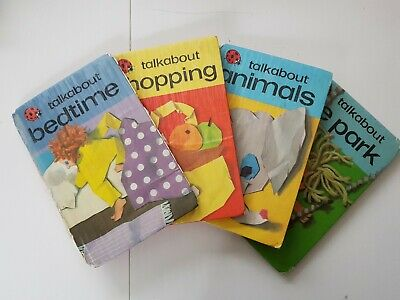 VINTAGE Set Of 4 Ladybird Books 'Talkabout'; Bedtime, Shopping, Animals, Park • 9£