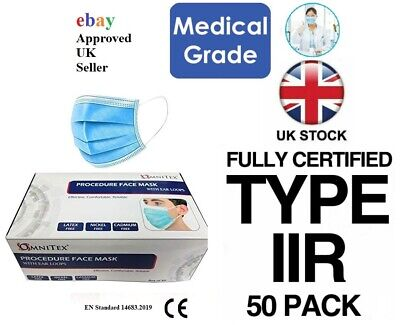 British Brand |50PK Omnitex 3ply Premium Type IIR Disposable Surgical Face Mask  • 12.95£