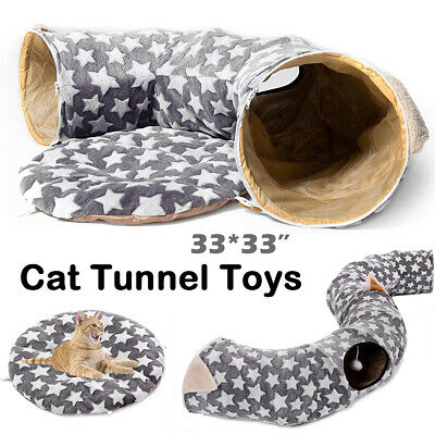 Cat Pets Tunnel Bed Cat Peephole Fun Toy Ball Puppy Collapsible 3 Way Soft Mat • 34.78£