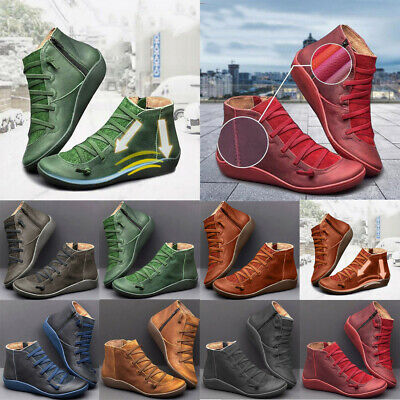 Women ARCH SUPPORT Suede Winter Ankle Boots Stitch Shoes Flat Heels Loafers  • 10.99£
