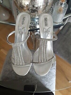 Faith Solo Diamond Glitter Bling Shoes Size 6 Silver Party Designer Style • 12.49£