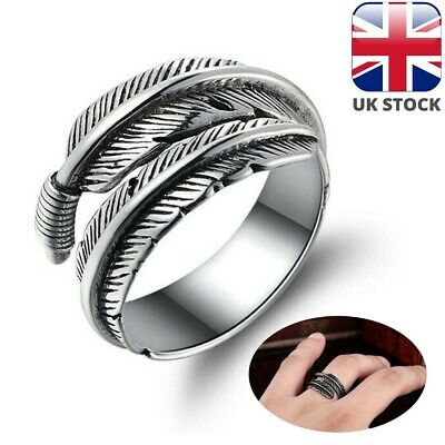 Feather Ring Silver 100 925 Sterling Band Open Adjustable Jewelry Finger Fully • 4.47£