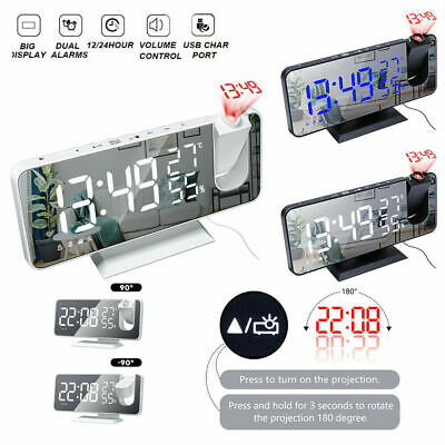 AU26.93 • Buy LED Digital Projection Alarm Clock FM Radio Snooze Dimmer Ceiling Projector NEW