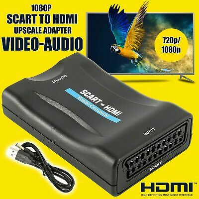 HDMI To SCART Adapter HD 1080P Video Audio Converter UK Plug TV DVD SkyBox • 9.99£